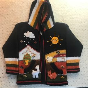 Other - Boys Sweater Navy Blue Handmade Hoodie Llama